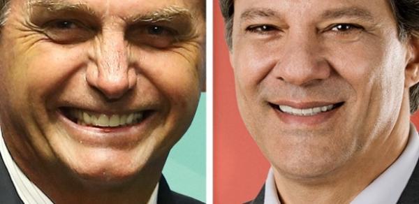Jair Bolsonaro (PSL) com 57% e Fernando Haddad (PT) soma 43%