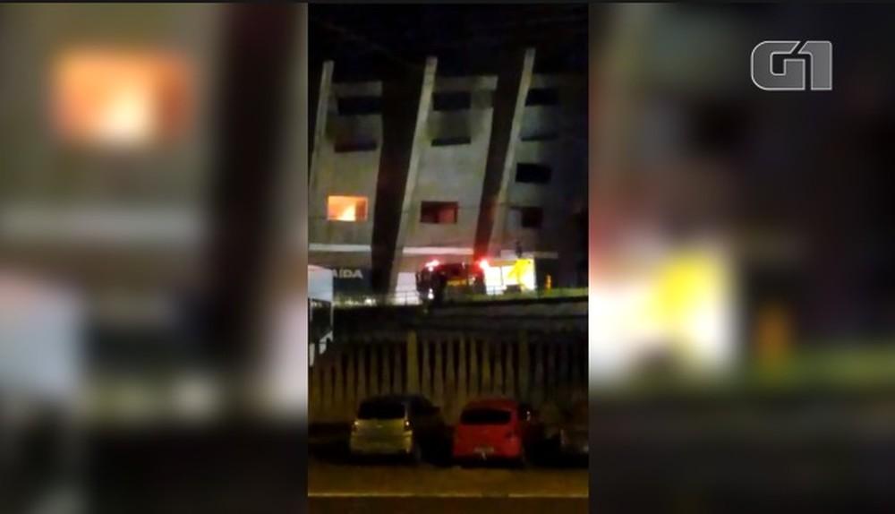 Incêndio no Estádio Albertão em Teresina — Foto: Reprodução