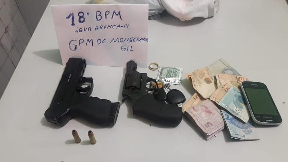Dois detentos do semiaberto são presos portando duas armas de fogo em Monsenhor Gil