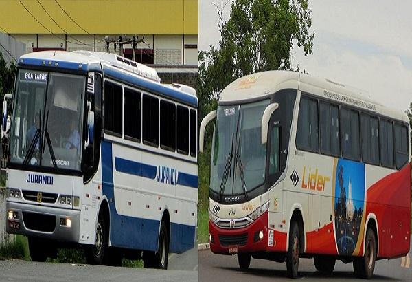 Ônibus das empresas Jurandir e Líder